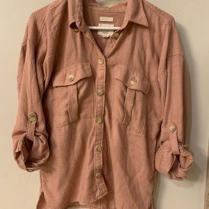 Blush/maybe linen aerie cargo button up